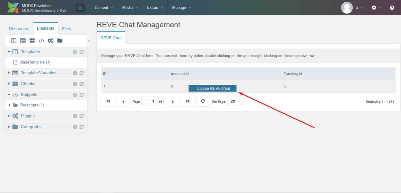 Reve Chat Integration with modx: Step 10