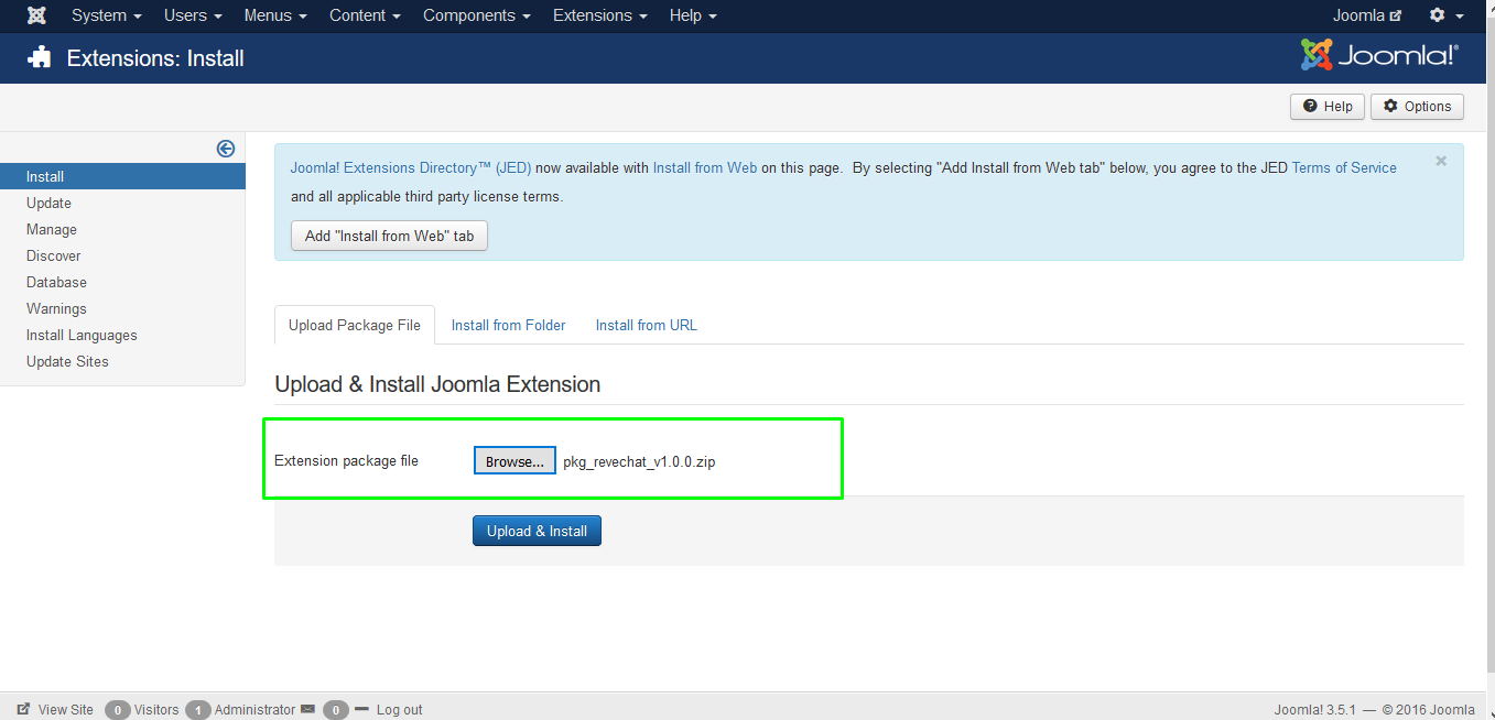 REVE Chat Integration with Joomla: Step 2