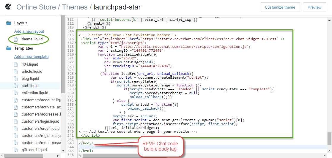 REVE Chat Integration with Shopify: Step 4