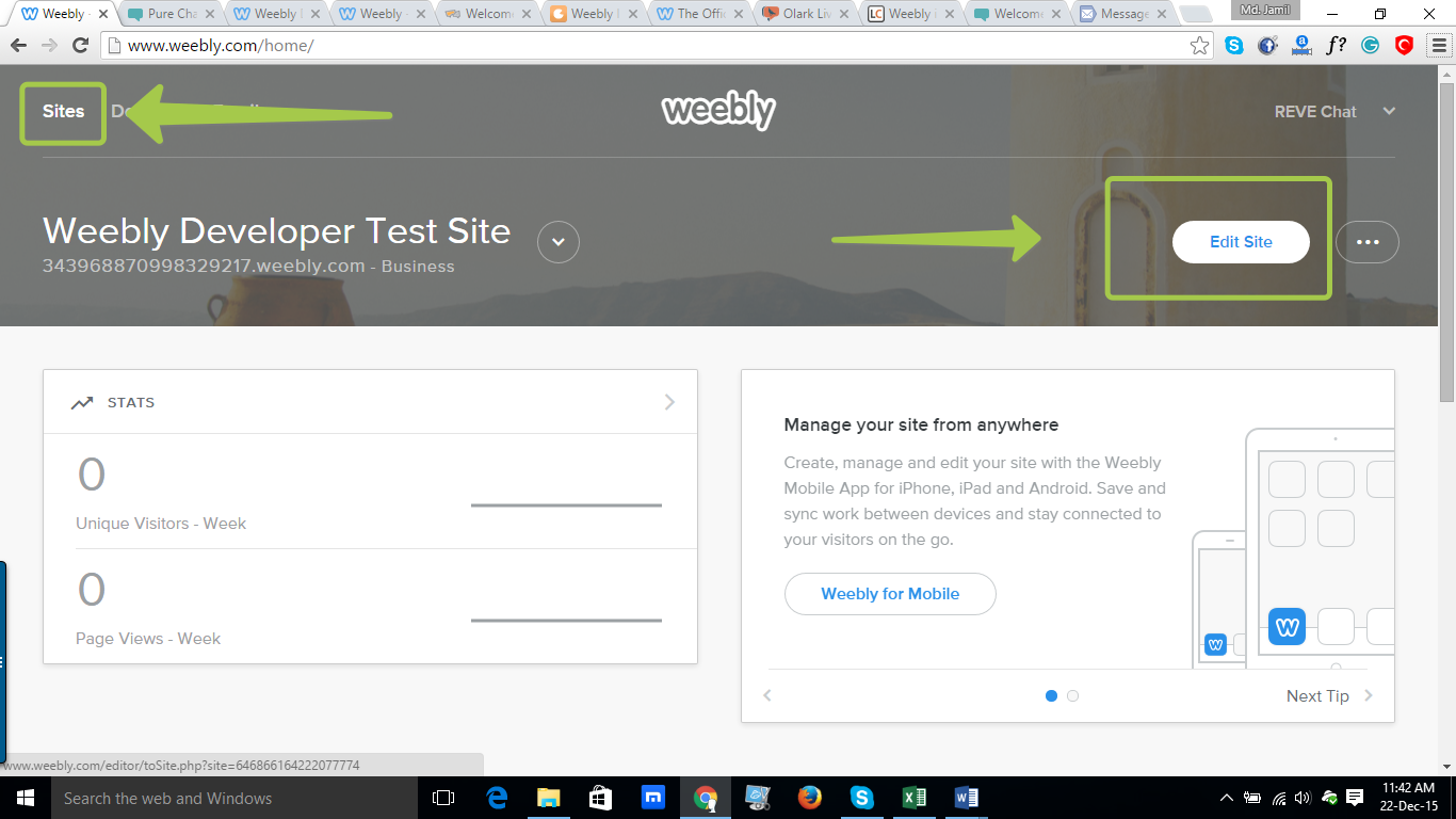 REVE Chat Integration with Weebly: Step 2