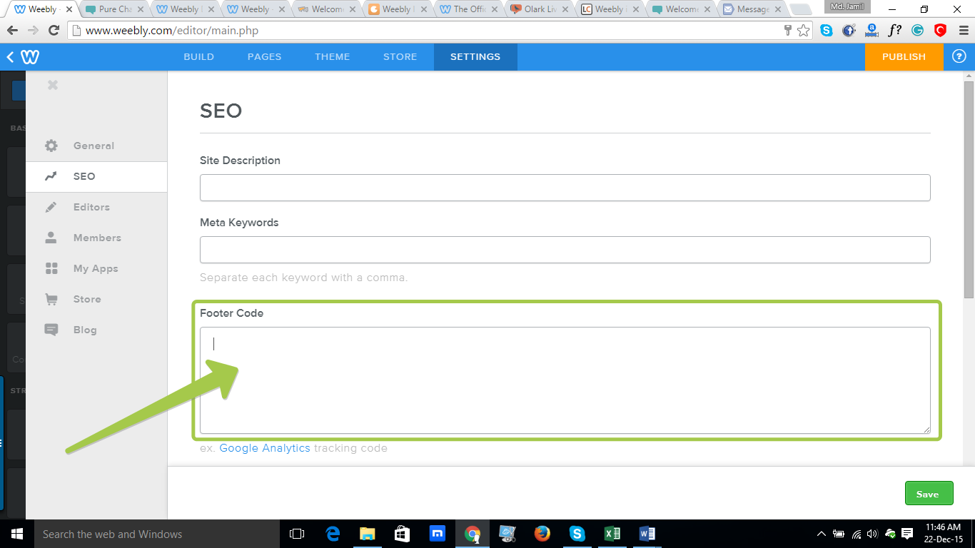 REVE Chat Integration with Weebly: Step 5
