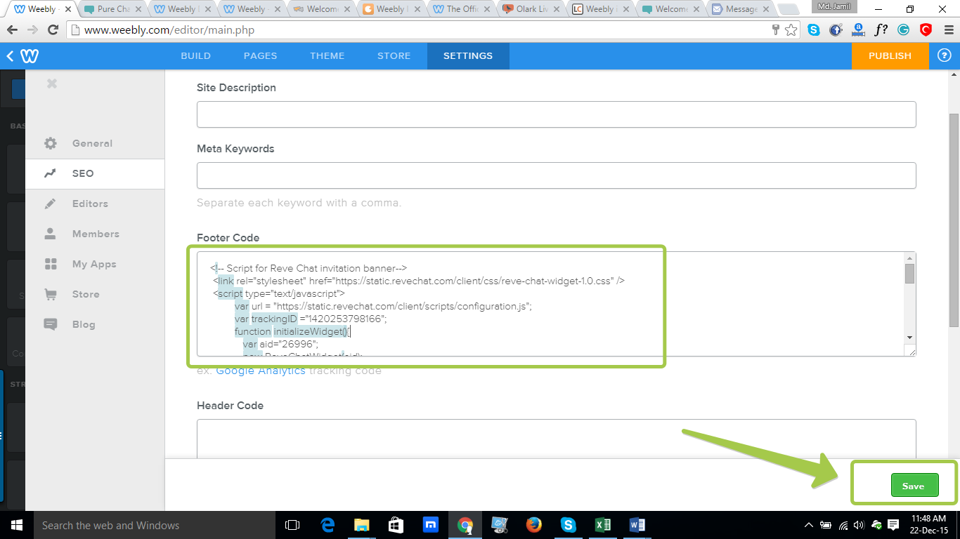 REVE Chat Integration with Weebly: Step 6