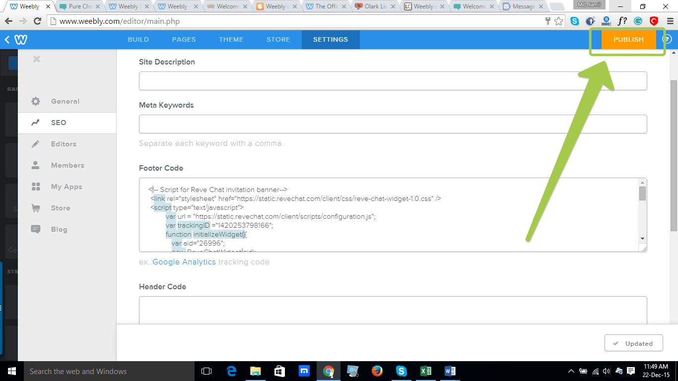 REVE Chat Integration with Weebly: Step 7