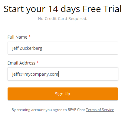 REVE Chat Signup Form