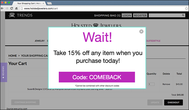 popups-for-shopping-cart-abandonment