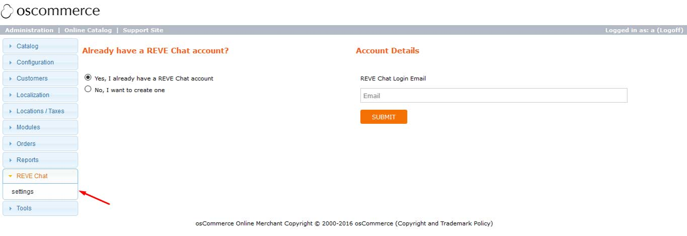 Reve Chat Integration with oscommerce: Step 2