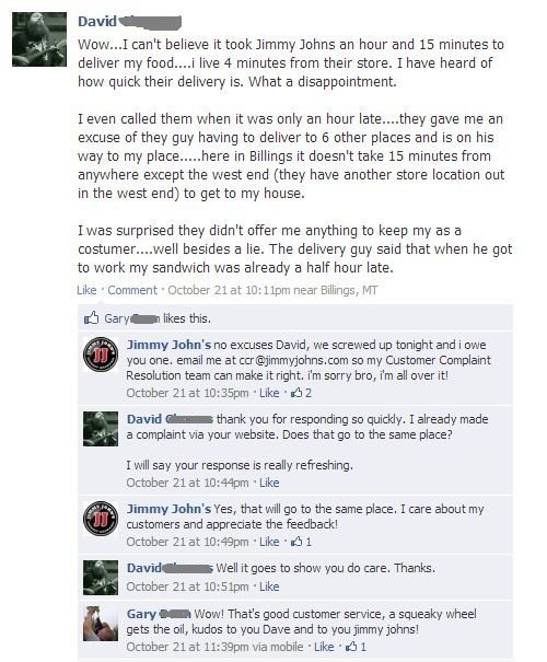 Jimmy Johns Facebook Customer Service Example