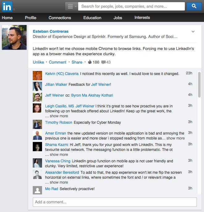 Monitor Feedback Comments on LinkedIn