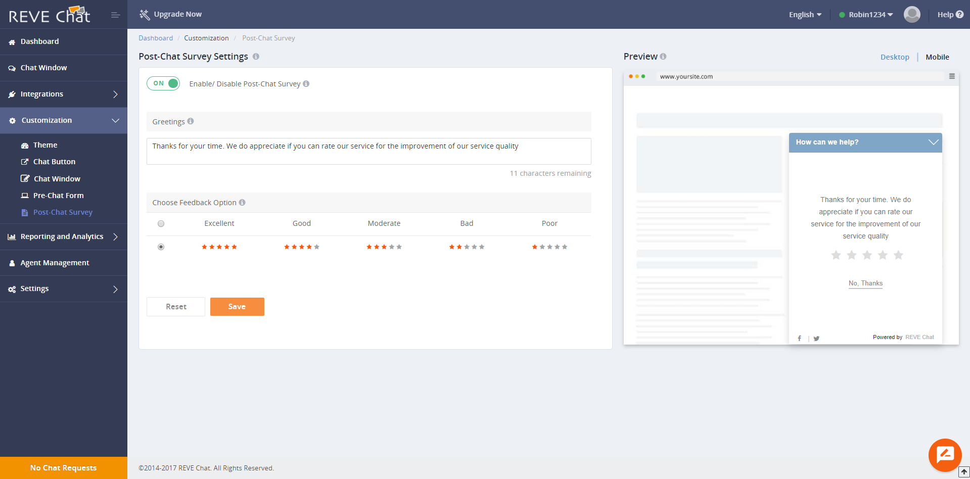 REVE Chat-Post Chat Survey Form Configuration