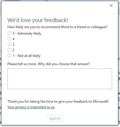 Microsoft Customer Feedback Survey