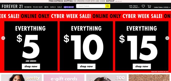 Forever21 Cyber Week Sale