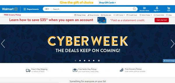 Walmart Cyber Week Sale on Website