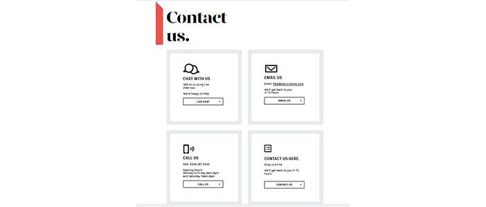 contact-channels-offered-by-oasis-fashion-store for ecommerce customer service